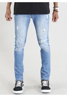 Calça Jeans Masculina Skinny Com Rasgos Azul Claro