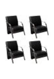Conjunto De 4 Poltronas Sevilha Decorativa Braço Alumínio Cadeira Para Recepção, Sala Estar Tv Espera, Escritório - Corino Preto