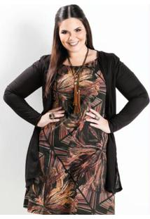 Cardigan Alongado Preto Plus Size