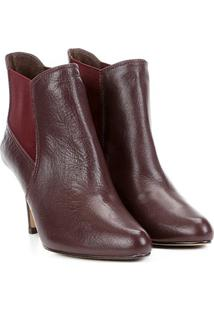 Bota Couro Cano Curto Shoestock Salto Fino Feminina