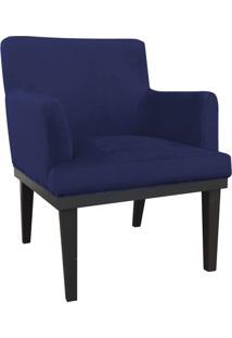 Poltrona Decorativa Vitória Para Sala E Recepção Suede Azul Marinho - D'Rossi