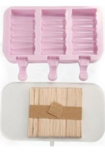 Forma De Picolé Em Silicone Zig Zag 3 Cavidades E 50 Palitos Rosa