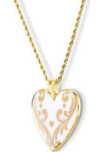 Pingente Medalha Coração Ouro Young Heart Design Medalhas - Unissex