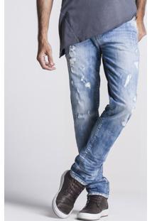 Calça Khelf Masculina Skinny Rasgada Jeans .