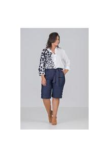 Camisa Com Elastano E Estampa Localizada Talento - Plus Size Preto/Branco