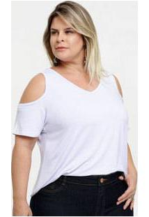 Blusa Feminina Open Shoulder Plus Size Manga Curta Marisa