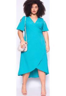 Vestido Almaria Plus Size Ela Linda Malha Azul