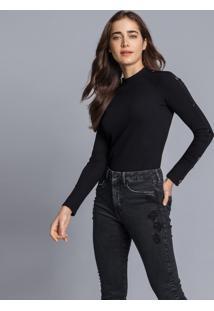 Calça Jeans Skinny Aruba Flat Belly Preto Reativo - Lez A Lez
