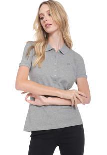 Camisa Polo Lacoste Logo Cinza