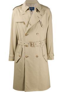 Polo Ralph Lauren Trench Coat Com Abotoamento Duplo - Neutro