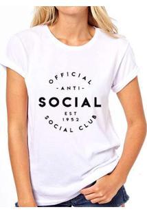 Camiseta Coolest Antisocial Club Feminina - Feminino-Branco