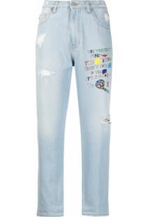 Love Moschino Calça Jeans Boyfriend Com Estampa De Slogan - Azul