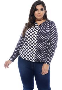 Camisa Forma Rara Plus Size Em Poá Glamour Azul Marinho