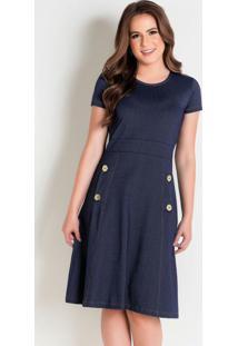 Vestido Evasê Azul Moda Evangélica Com Botões