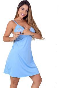 Camisola Amamentação Vip Lingerie Microfibra Lisa Azul