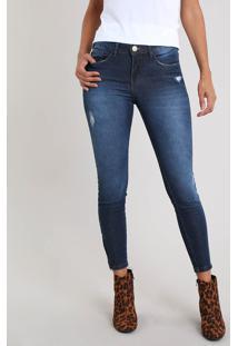 Calça Jeans Feminina Super Skinny Destroyed Azul Escuro