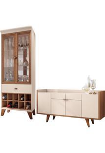 Conjunto Cristaleira Bar Adega E Buffet Aparador Balcão Albâni/Andorra Off White/Nature - Gran Belo