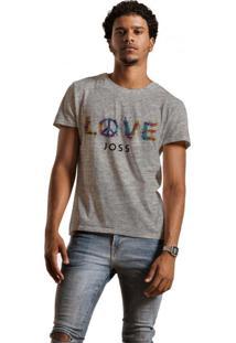 Camiseta Masculina Joss Mescla Love Cinza