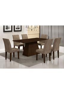 Conjunto De Mesa De Jantar Luna Com 6 Cadeiras Grécia Suede Animall E Castor E Chocolate 180 Cm