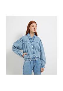 Jaqueta Jeans Com Manga Princesa E Pregas Frontais | Blue Steel | Azul | P
