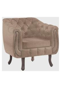 Poltrona Chesterfield Base Madeira Tabaco Bege C/ Capitone Daf