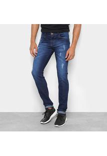 Calça Jeans Skinny Coffee Puídos Cintura Média Masculina - Masculino-Azul