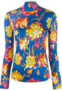 La Doublej Suéter Gola Alta Floral - Azul