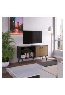 Rack Para Tv Retrô Genialflex 2 Portas Âmbar E Preto Fosco