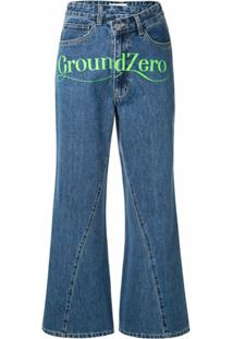 Ground Zero Calça Jeans Cropped Cintura Alta - Azul