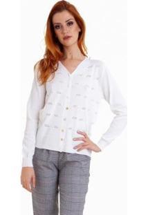 Camisa Kinara Linha Trabalhada Levinha Feminina - Feminino-Branco