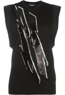 Dsquared2 Blusa Com Detalhe De Paetês - Preto