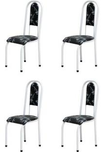 Kit 4 Cadeiras Anatômicas 0.122 Estofada Branco/Preto Floral - Marcheli