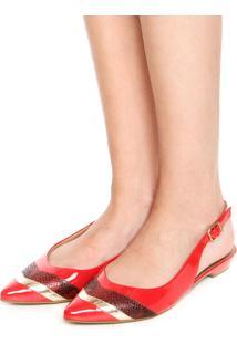 Sapatilha Usaflex Bico Fino Cobra Vermelha