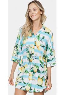 Camisa Saída De Praia Tecido Citrons - Lez A Lez