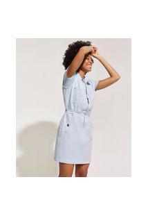 Vestido Jeans Feminino Curto Com Bolsos E Zíper Gola Esporte Azul Claro