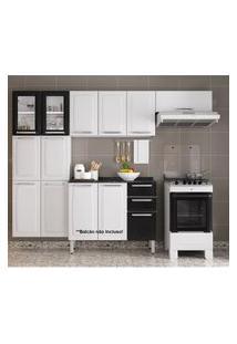 Cozinha Itatiaia Luce 3 Peças 2 Portas De Vidro Branco/Preto