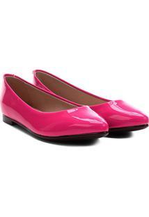Sapatilha Moleca Bico Fino Verniz Feminina - Feminino-Pink