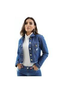 Jaqueta Zaiz Jeans Cropped Indigo Médio