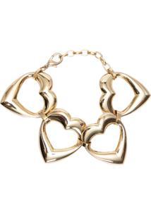Pulseira Feminina Coração - Dourado