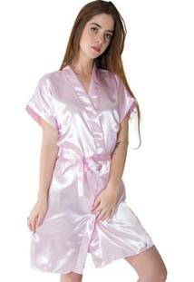Robe Linha Noite De Cetim Feminino - Feminino-Rosa Claro