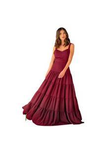 Vestido De Festa Longo Marsala Vinho