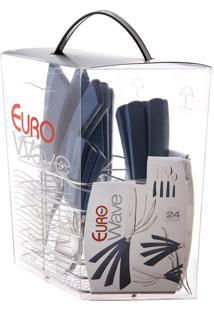 Kit Talheres Wave Azul Com Suporte 24 Peças Euro Home Crve-24Az