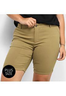 Bermuda City Lady Plus Size Feminina - Feminino-Cáqui