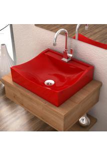 Cuba De Apoio Para Banheiro Compace Lunna Q44W Retangular Vermelha