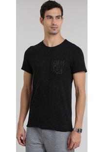 Camiseta Botonê Com Bolso De Tachas Preta