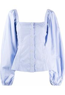 Ganni Blusa Decote Quadrado Com Listras - Azul