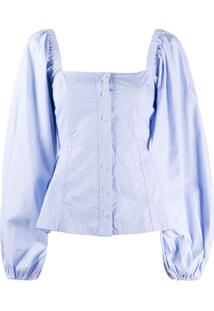 Ganni Square Neck Striped Blouse - Azul
