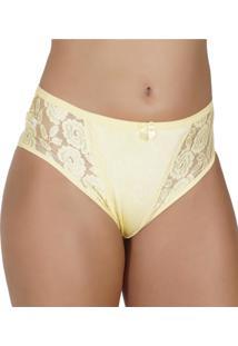 ... Calcinha Click Chique Em Citinete Texturizado E Renda Amarelo c7e27b08f37