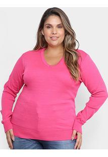 Suéter Tricô City Lady Gola V Plus Size Feminino - Feminino-Pink