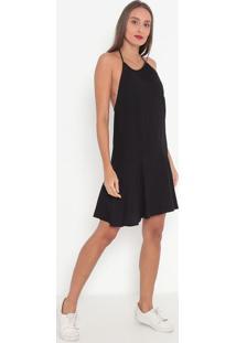 Vestido Liso Com Recortes- Preto- Tritontriton